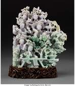 61595: A Chinese Carved Jadeite Meiren Group on Hardwoo