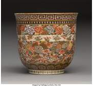 78748: A Japanese Satsuma Earthenware Bowl with Millefl