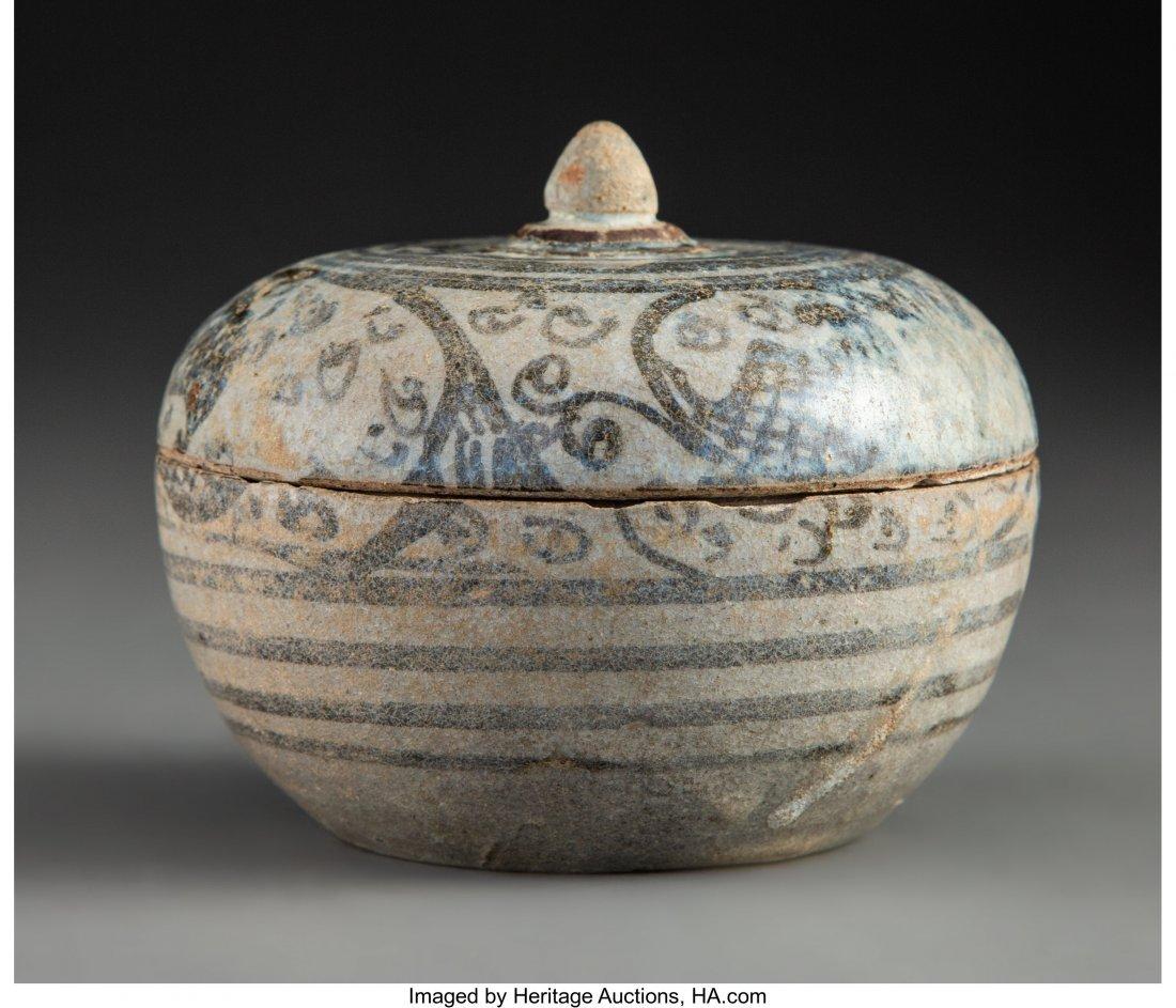 78803: A Thai Celadon-Glazed Stoneware Mangosteen-Form