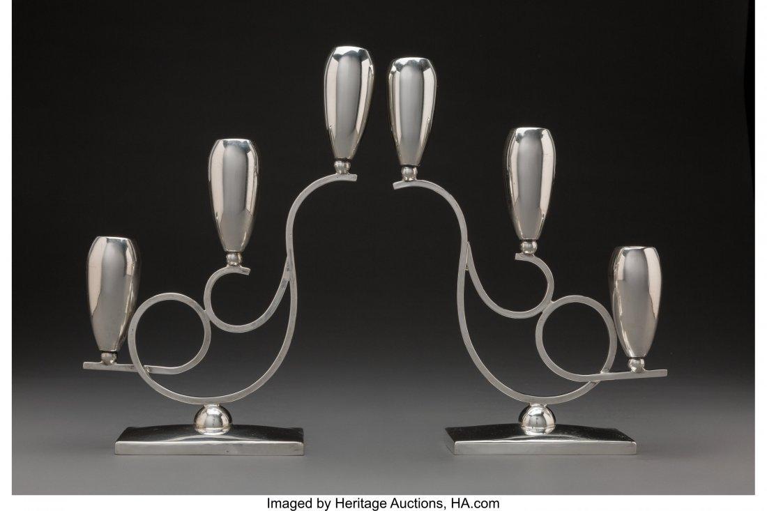 74259: A Pair of Mexican Silver Candlesticks, Mexico Ci