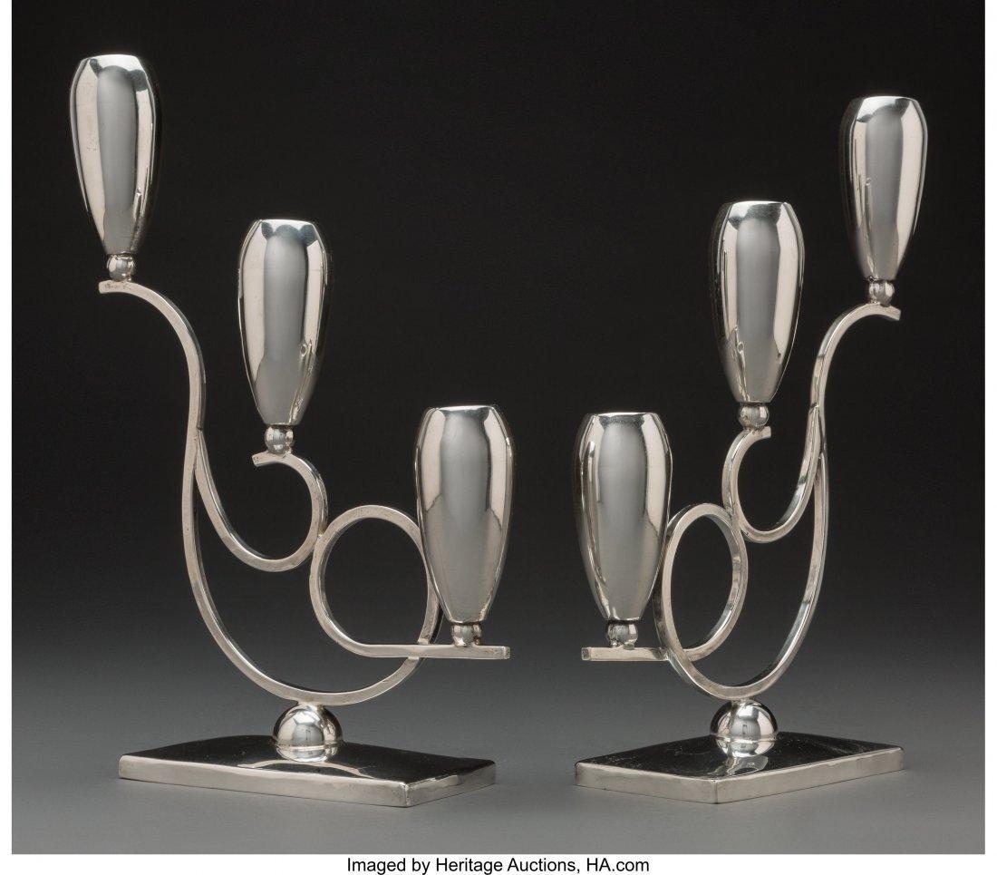 74259: A Pair of Mexican Silver Candlesticks, Mexico Ci - 2