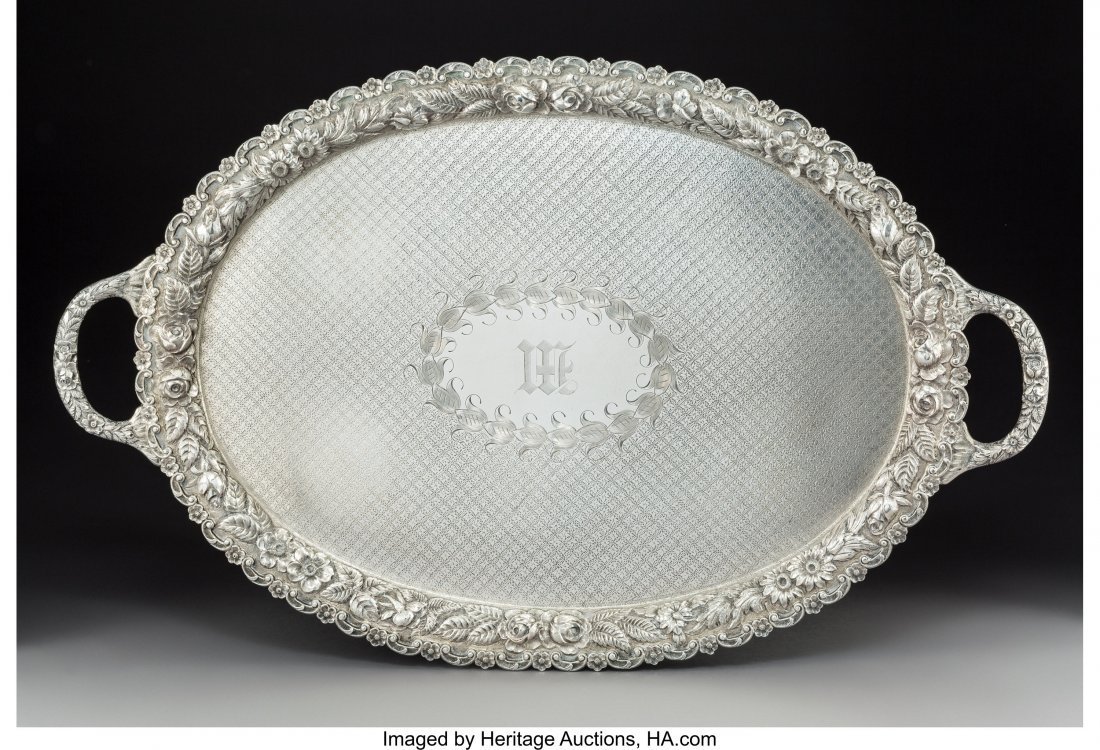 74046: A Large American Silver Two-Handled Tray with Fl
