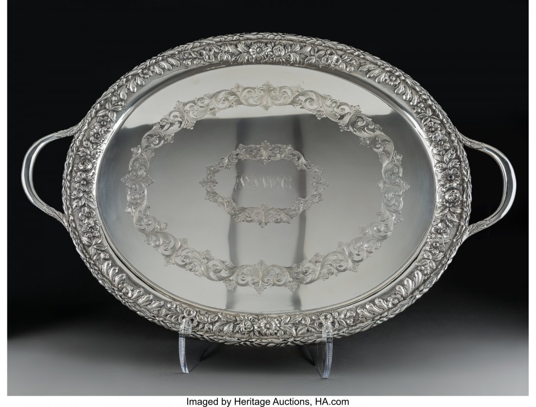 74047: A Large S. Kirk & Son Two-Handled Silver Tray wi