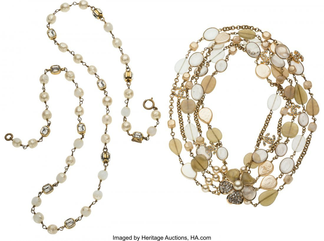 58229: Chanel Set of Two: Gold Pearl & Beaded Stone Nec