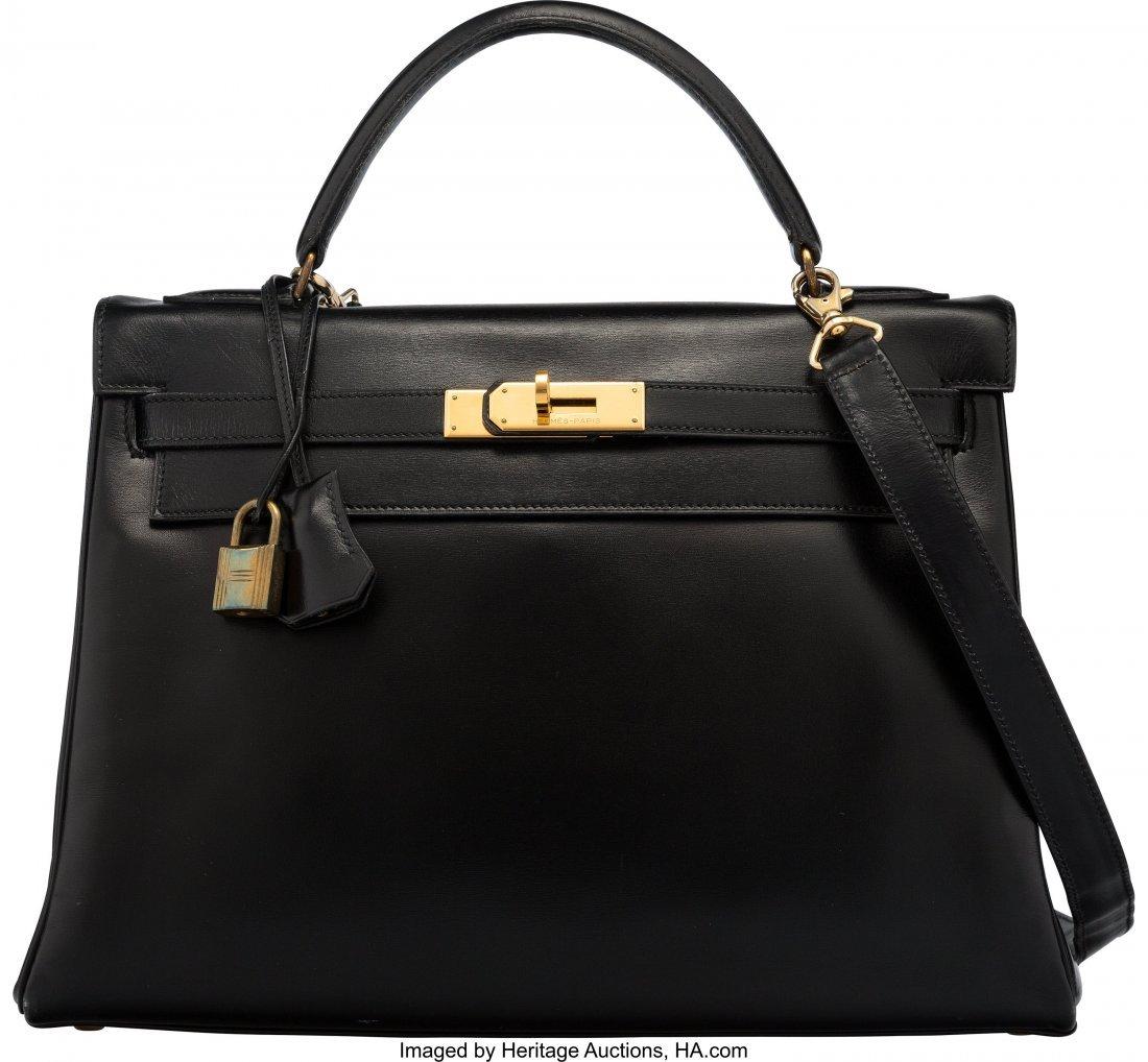 58237: Hermès 32cm Black Calf Box Leather Retour