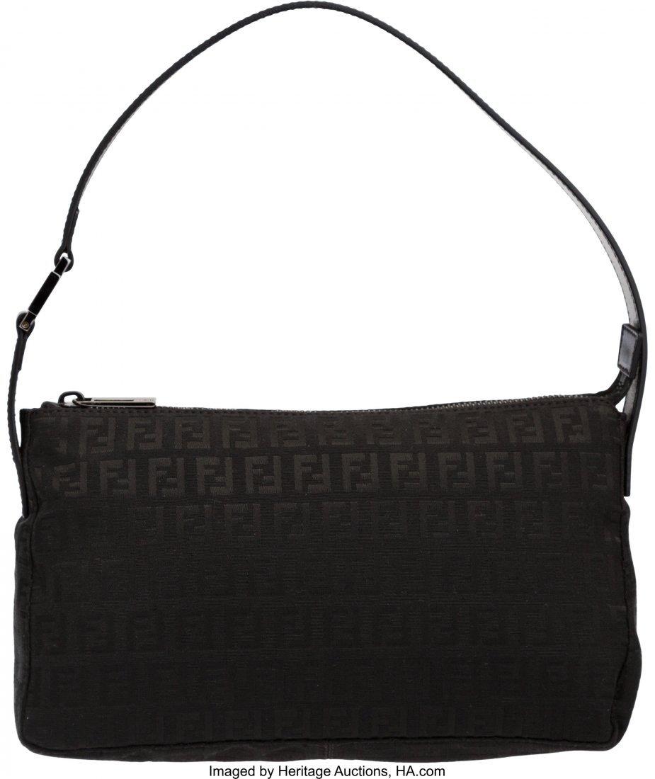 58016: Fendi Black Zucca Monogram Canvas Small Shoulder