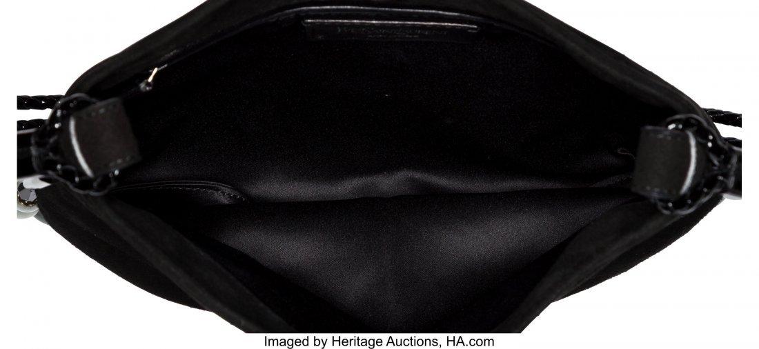 58022: Yves Saint Laurent Black Suede & Jade Shoulder B - 4