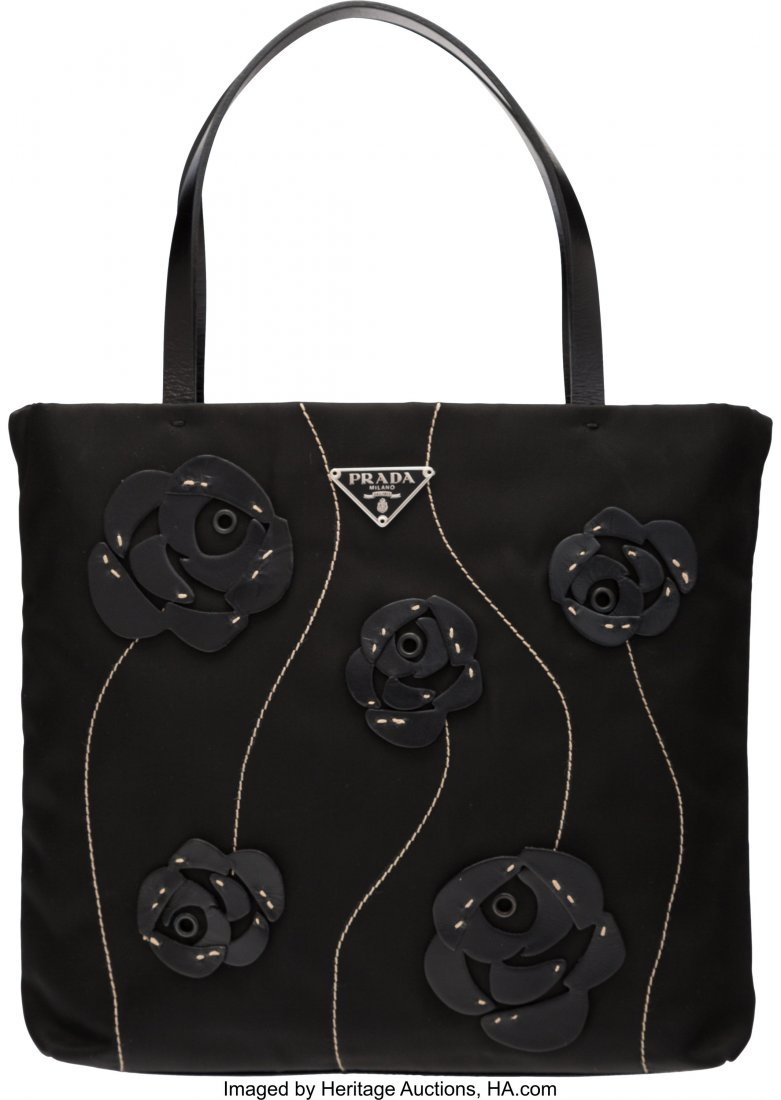 58025: Prada Black Nylon Small Floral Bag The Collectio