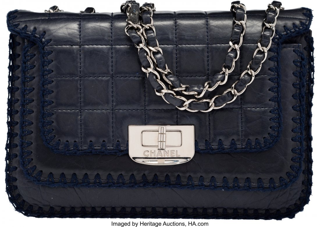 58191: Chanel Navy Blue Square Quilted Distressed Lambs