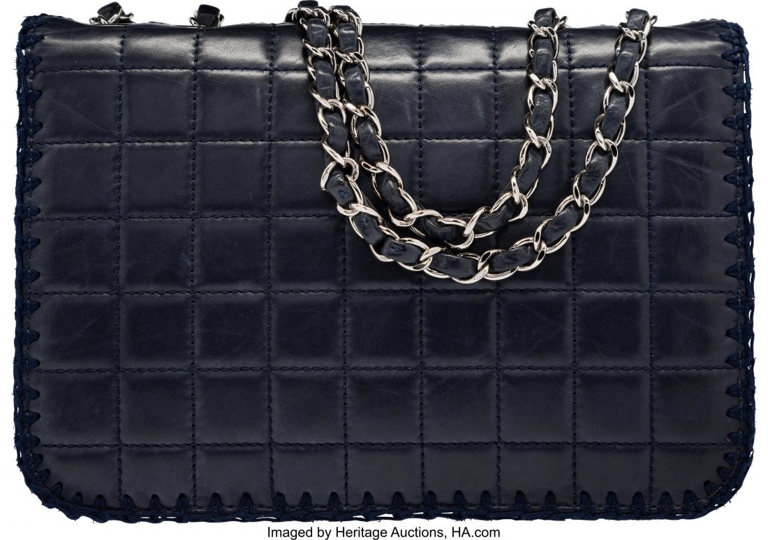 58191: Chanel Navy Blue Square Quilted Distressed Lambs - 2