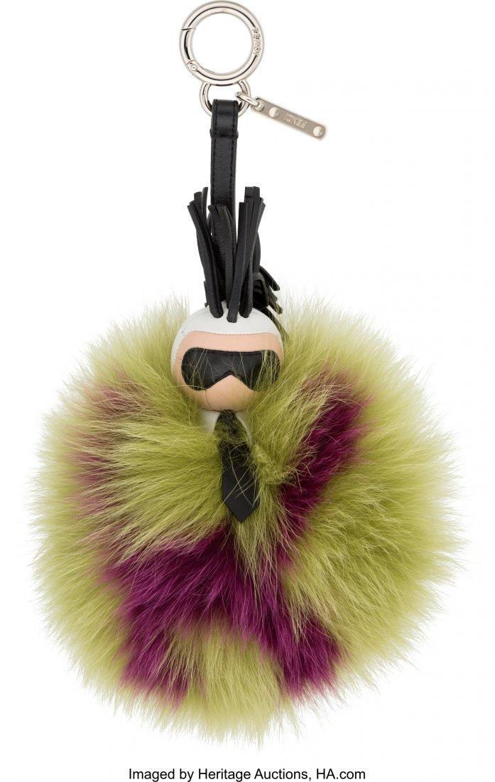 "58147: Fendi Green & Purple Fur ""Super Karlito"" Pom Pom"