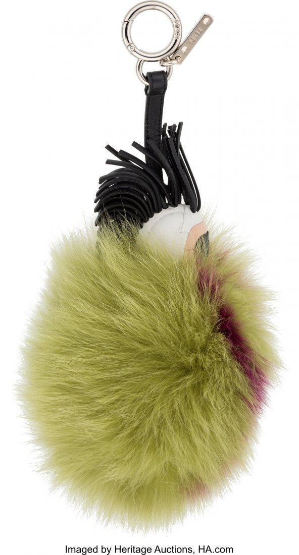 "58147: Fendi Green & Purple Fur ""Super Karlito"" Pom Pom - 2"