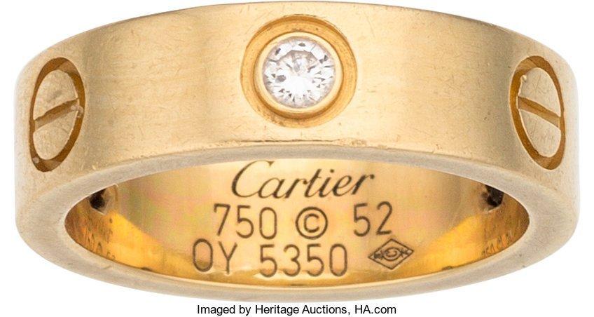 58224: Cartier 18K Yellow Gold & Diamond Love Ring Cond