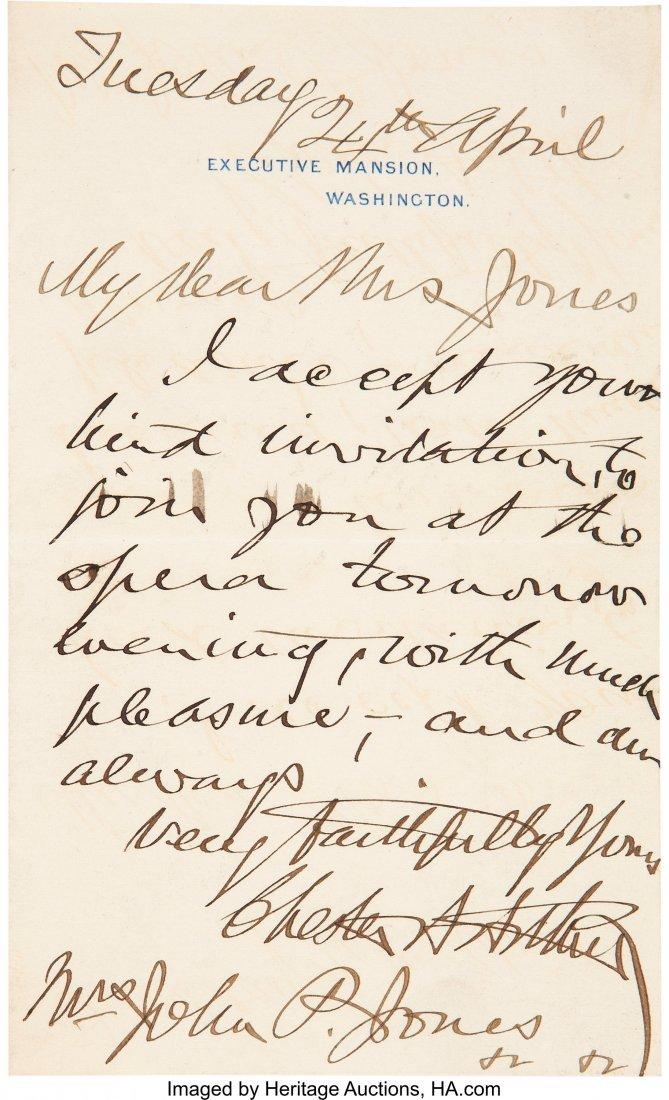 47098: Chester Arthur Autograph Letter Signed as Presid
