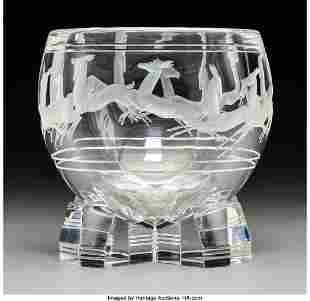 79121: Steuben Glass Gazelle Bowl in Original Fitted Bo