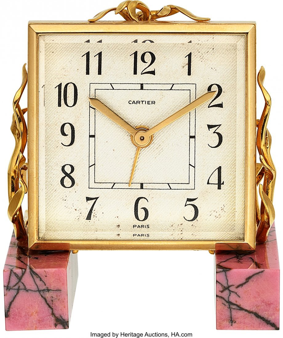 54002: Cartier, Small Alarm Clock, Rhodonite Base, Orig