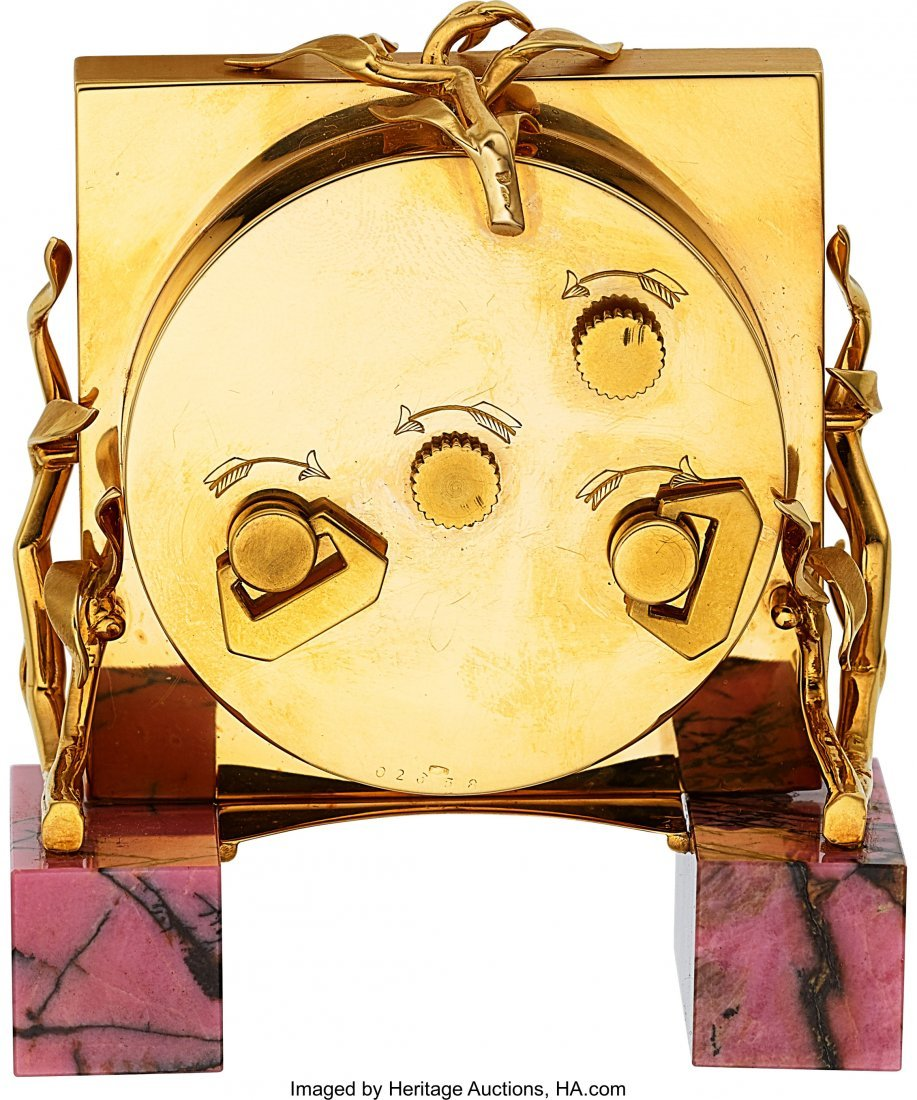 54002: Cartier, Small Alarm Clock, Rhodonite Base, Orig - 4