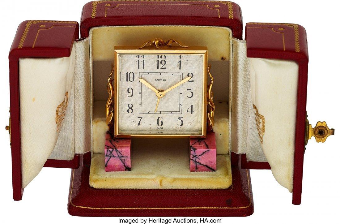 54002: Cartier, Small Alarm Clock, Rhodonite Base, Orig - 5