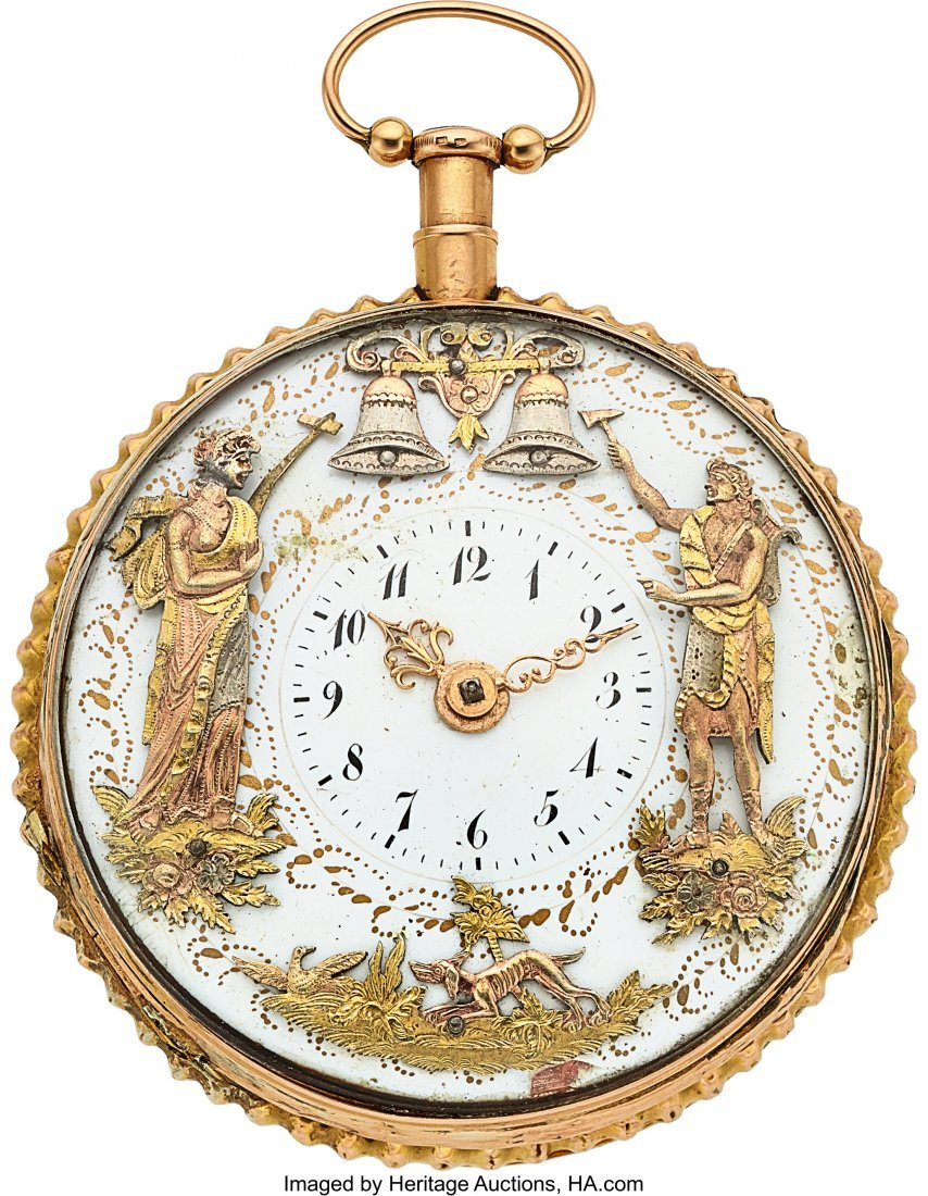 54331: Swiss, Gold Quarter Hour Repeater With Two Motio