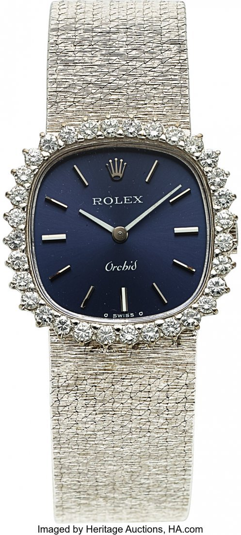54183: Rolex, Very Fine Ladies Orchid, 18K White Gold a