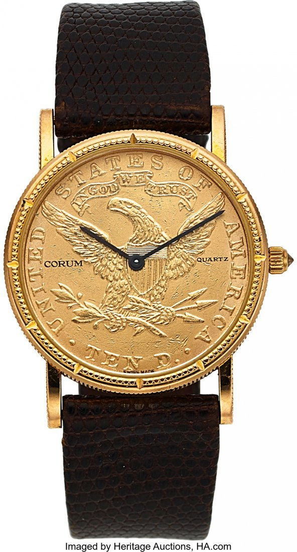 54029: Corum, Ten Dollar Gold Coin, Quartz, Circa 1990'