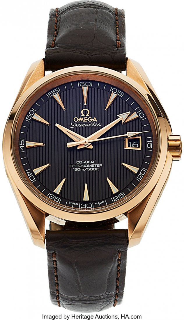 54035: Omega, Fine 18K Rose Gold Seamaster Aqua Terra C