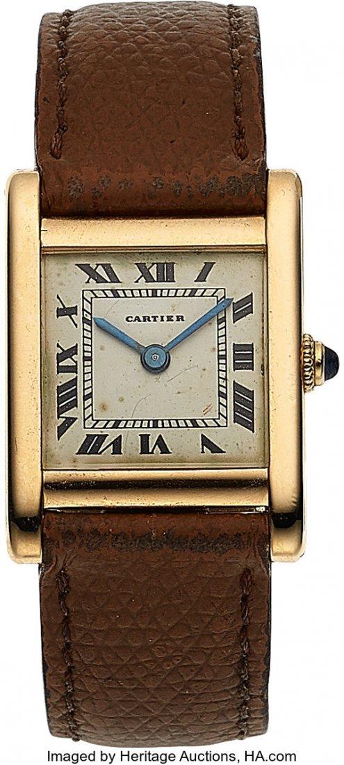 54056: Cartier, 18k Yellow Gold Tank, JLC Cal. P838, Pe