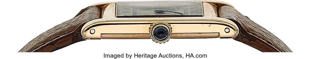 54056: Cartier, 18k Yellow Gold Tank, JLC Cal. P838, Pe - 3