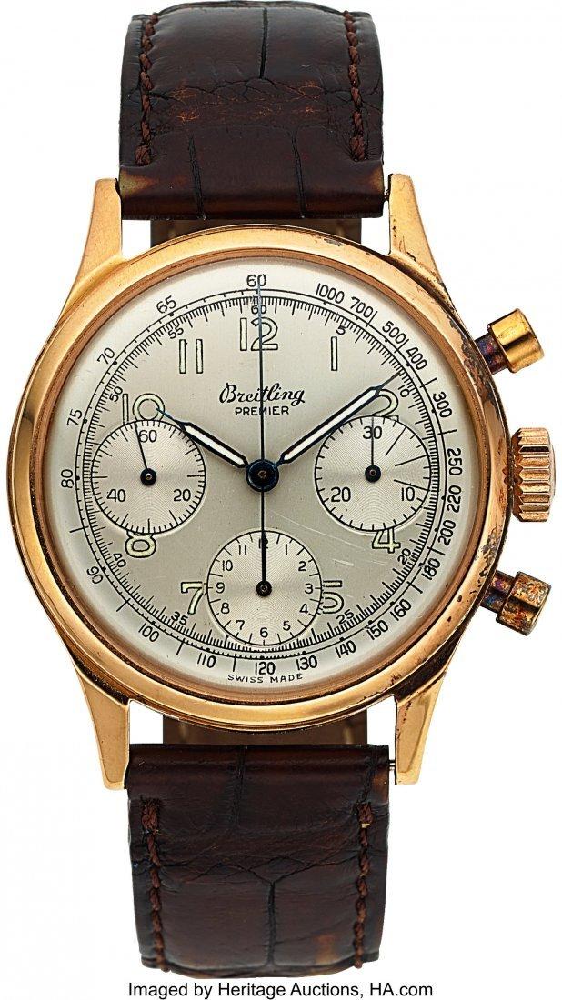 54143: Breitling, Fine Vintage Premier Chronograph, 18K