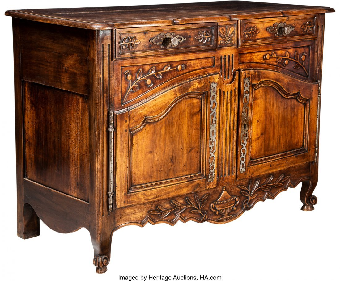 63117: A Louis XV-Style Walnut Buffet, 19th century 38-