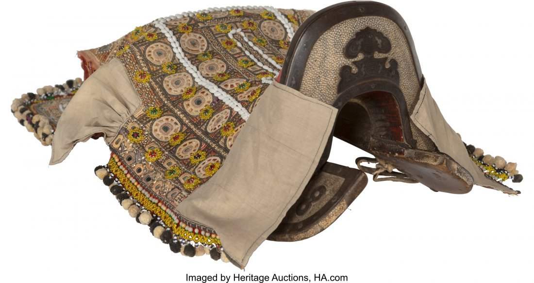 63233: A Chinese Shagreen, Wood and Leather Saddle with