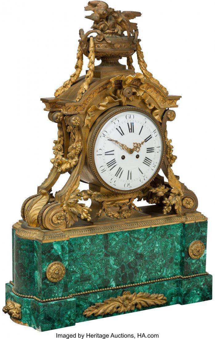 63054: A French Louis XVI-Style Malachite and Gilt Bron