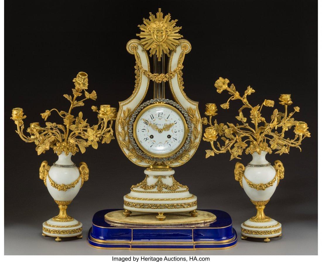 63064: A Three-Piece French Louis XVI-Style Gilt Bronze