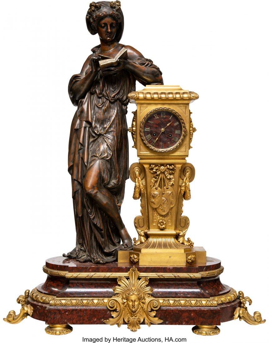 63075: A Napoleon III Patinated and Gilt Bronze Figural