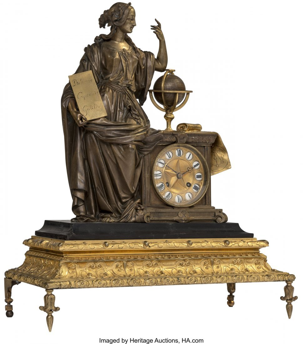 63077: An Empire-Style Gilt and Patinated Bronze Figura