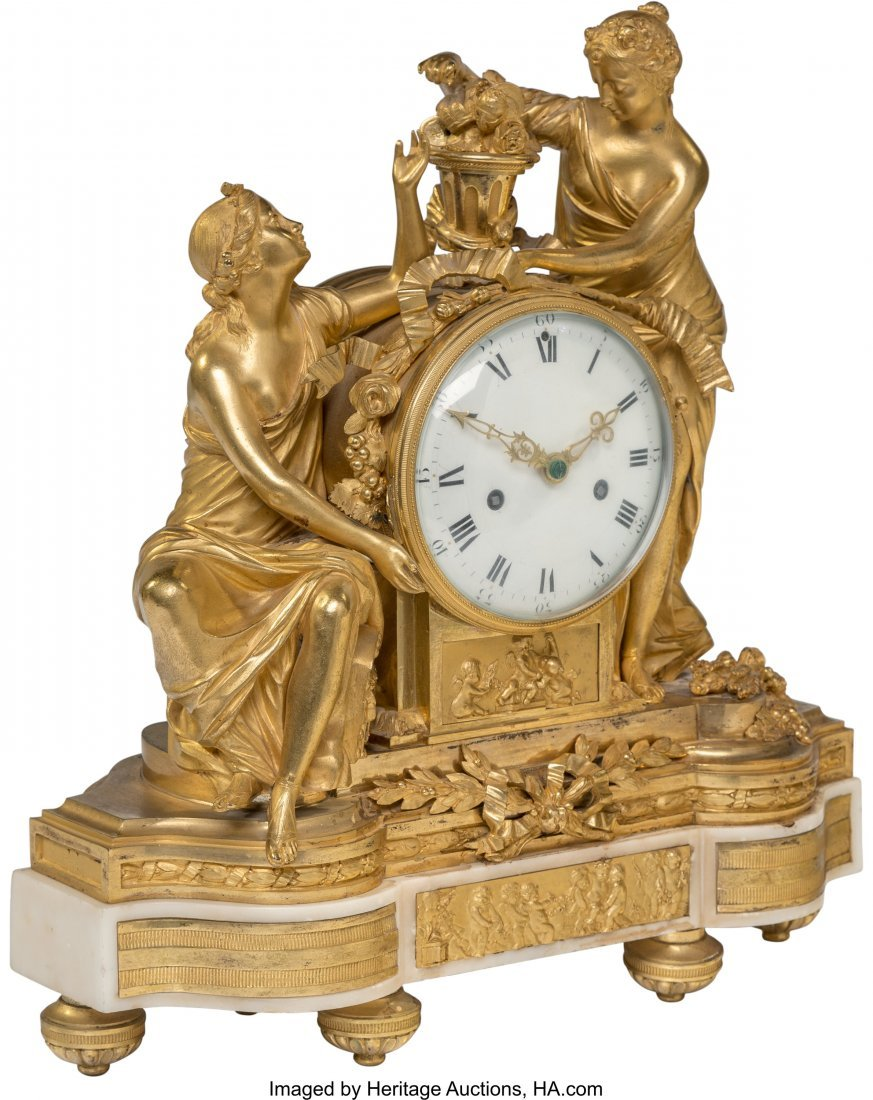 63086: A Louis XVI-Style Gilt Bronze and Marble Figural