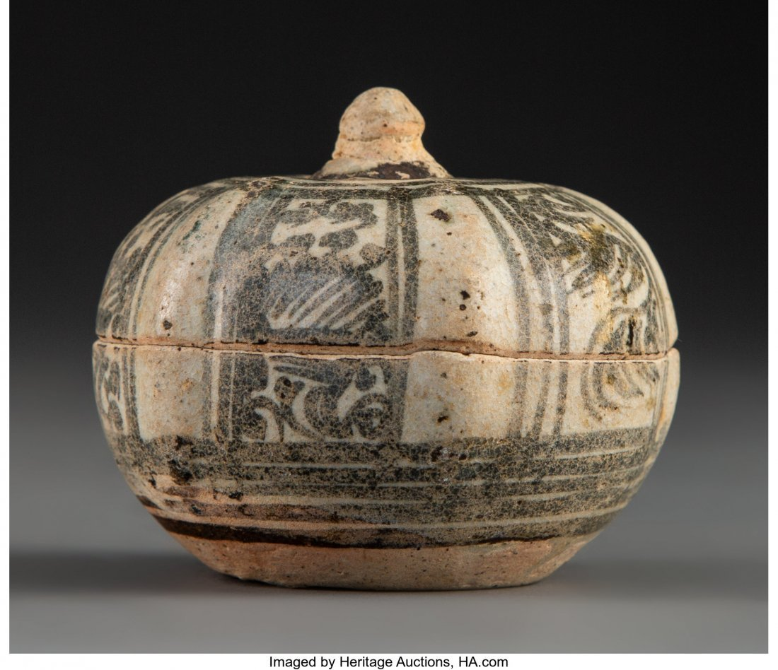 63690: A Thai Glazed Stoneware Mangosteen-Form Covered