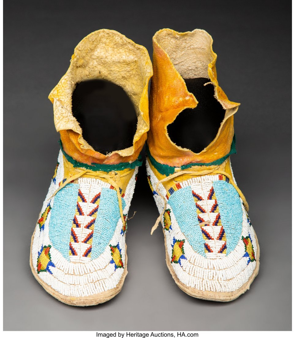 70142: A Pair of Southern Arapaho Beaded Hide Moccasins