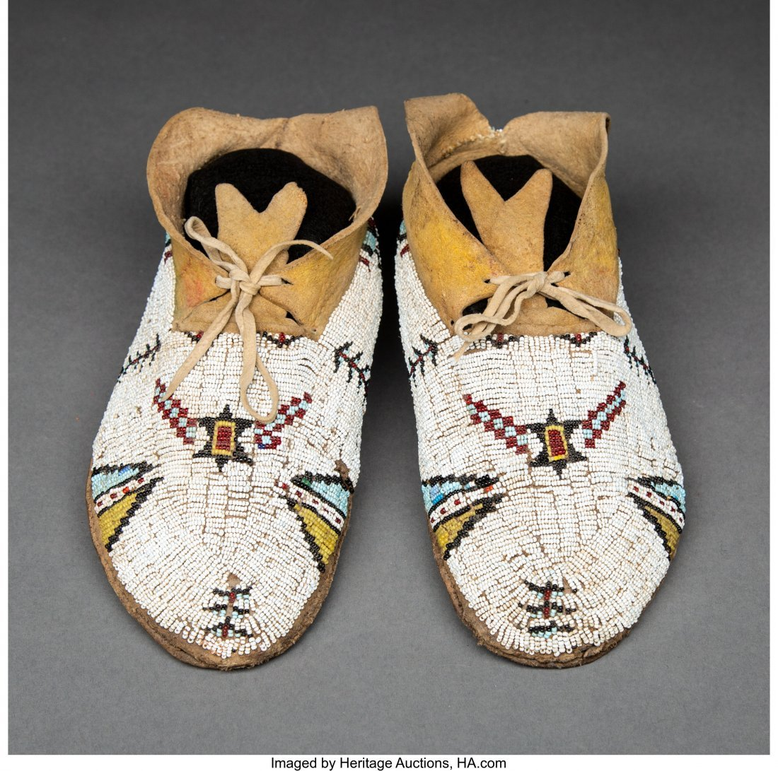 70143: A Pair of Cheyenne Beaded Hide Moccasins c. 1900