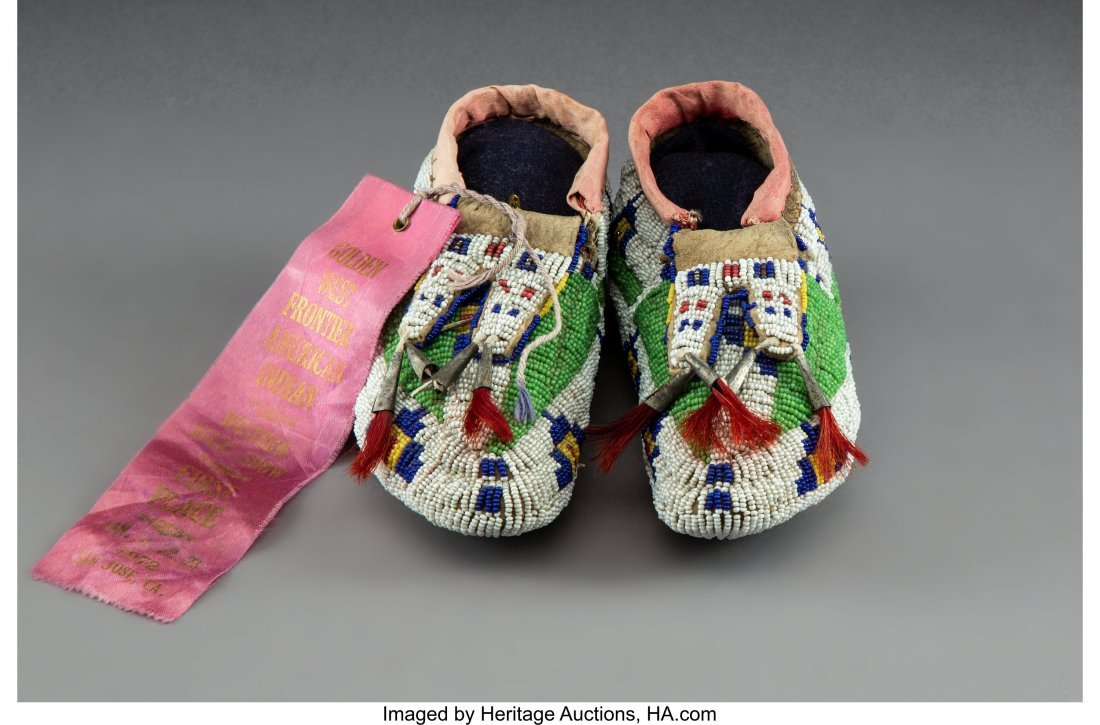 70158: A Pair of Sioux Child's Beaded Hide Ceremonial M