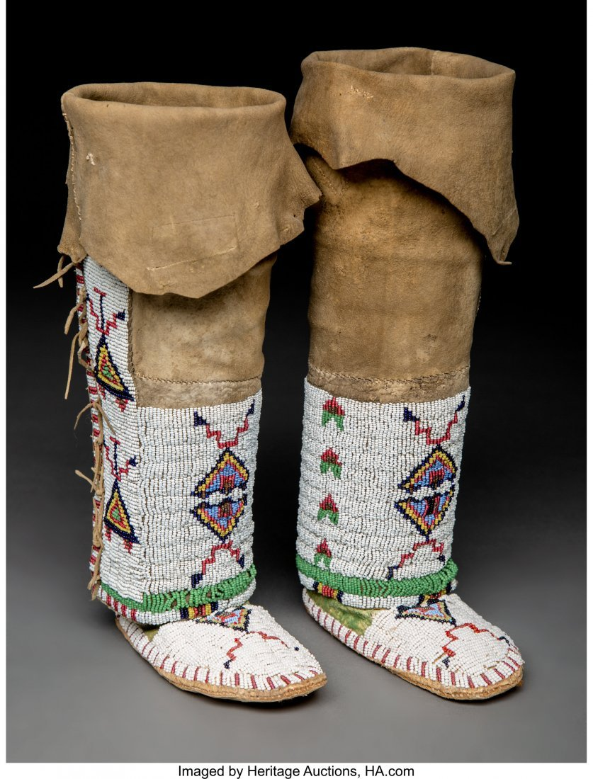 70171: A Pair of Sioux Child's Beaded Hide Leggings/ Mo
