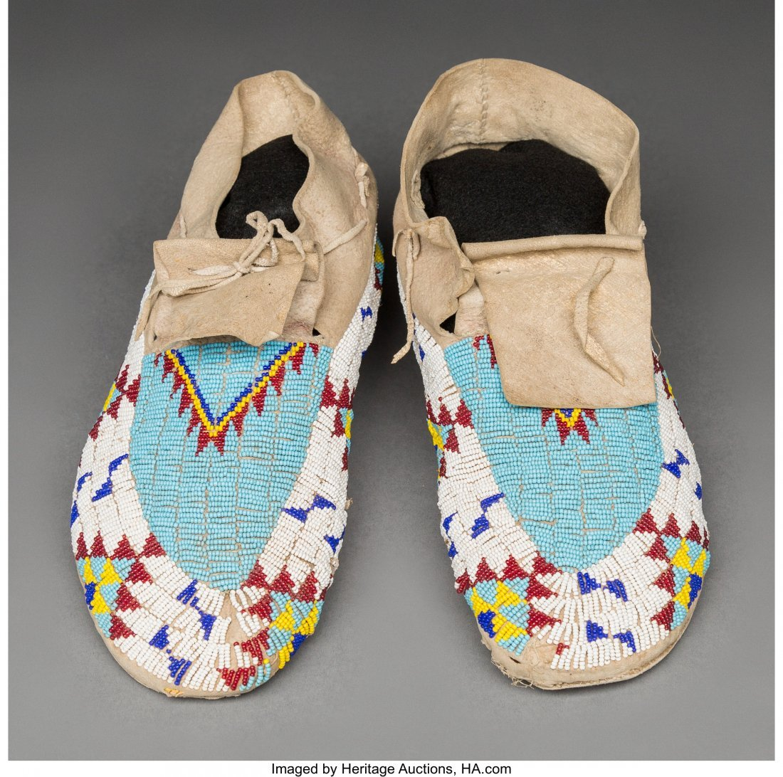 70530: A Pair of Sioux Beaded Hide Moccasins   c. 1920