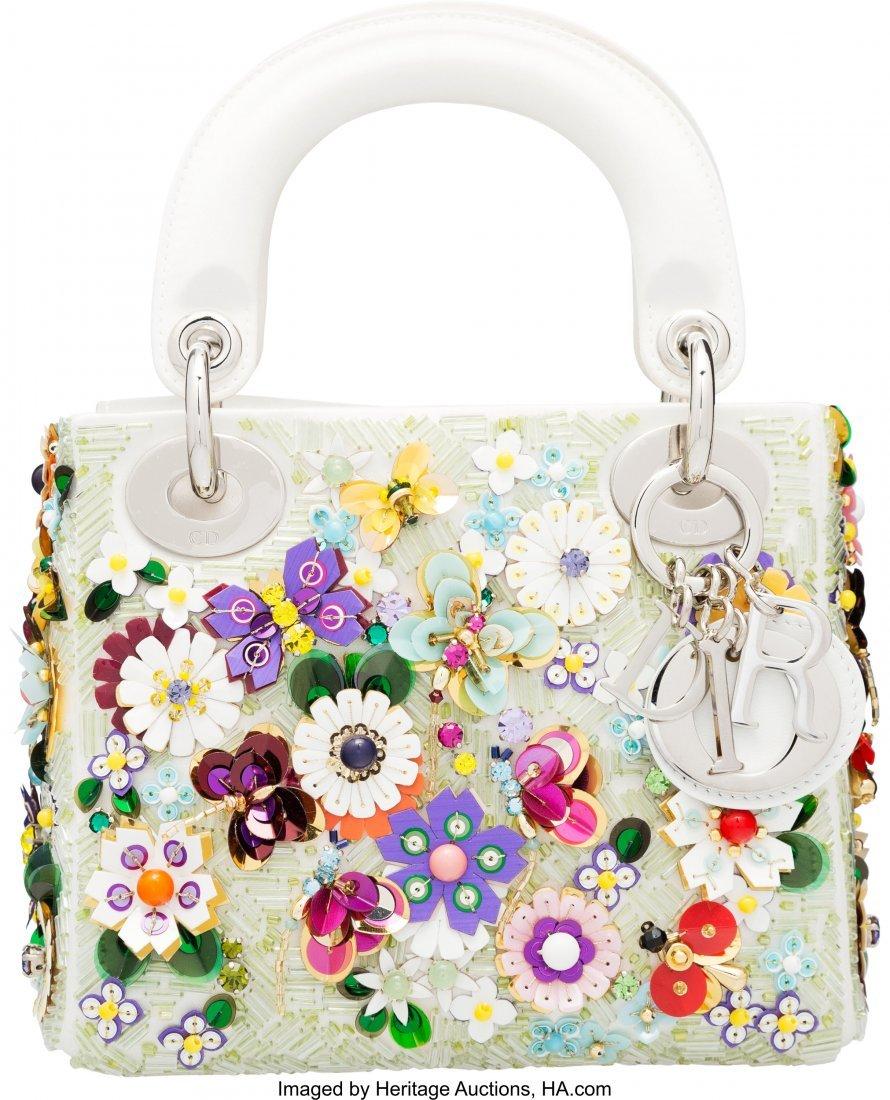 16003: Christian Dior White Satin & Multicolor Flower E