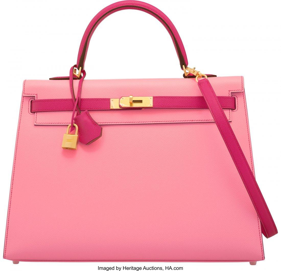16010: Hermès 35cm Rose Confetti & Rose Tyrien E