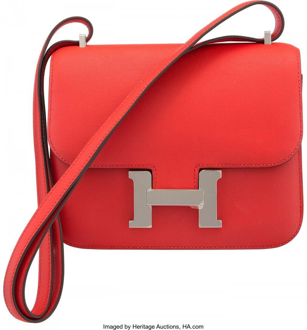16011: Hermès 18cm Rouge Tomate Evercolor Leathe