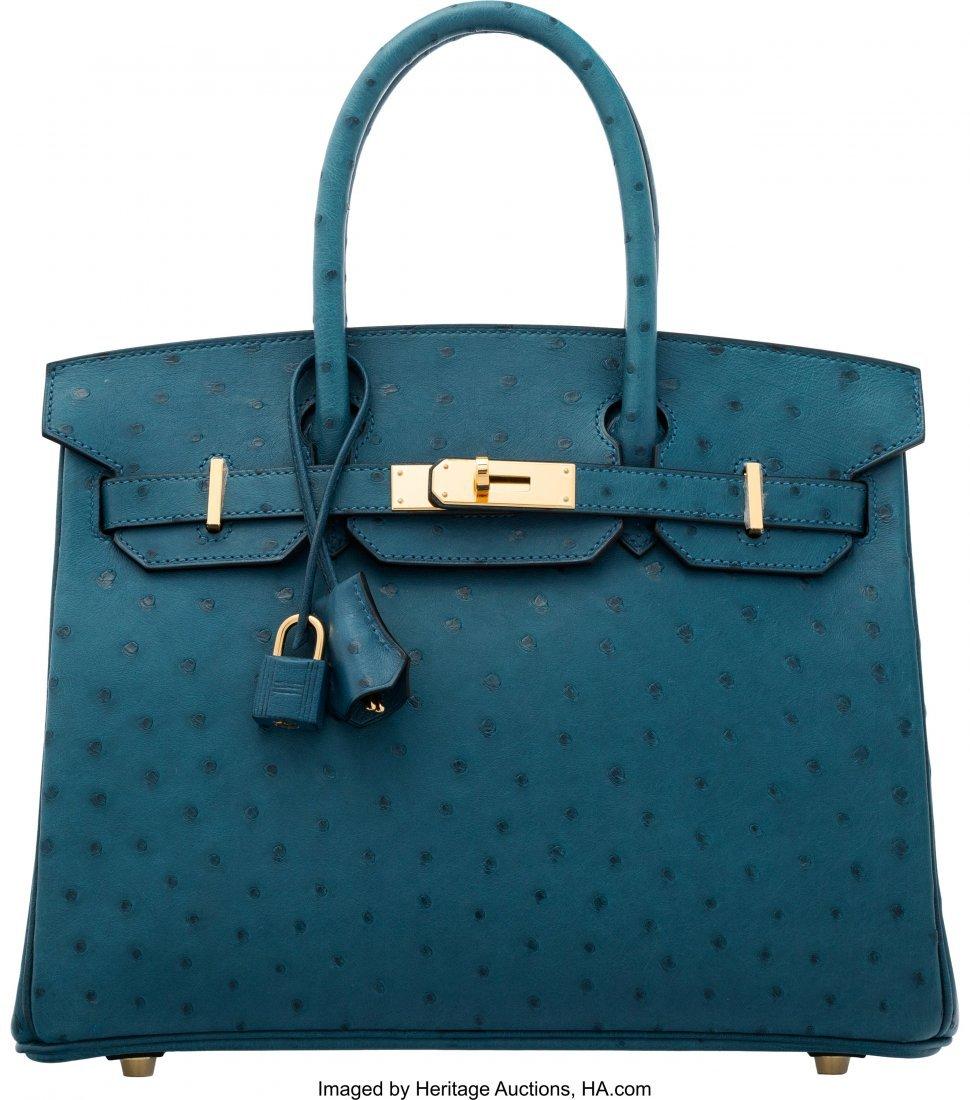 16115: Hermès 30cm Colvert Ostrich Birkin Bag wi
