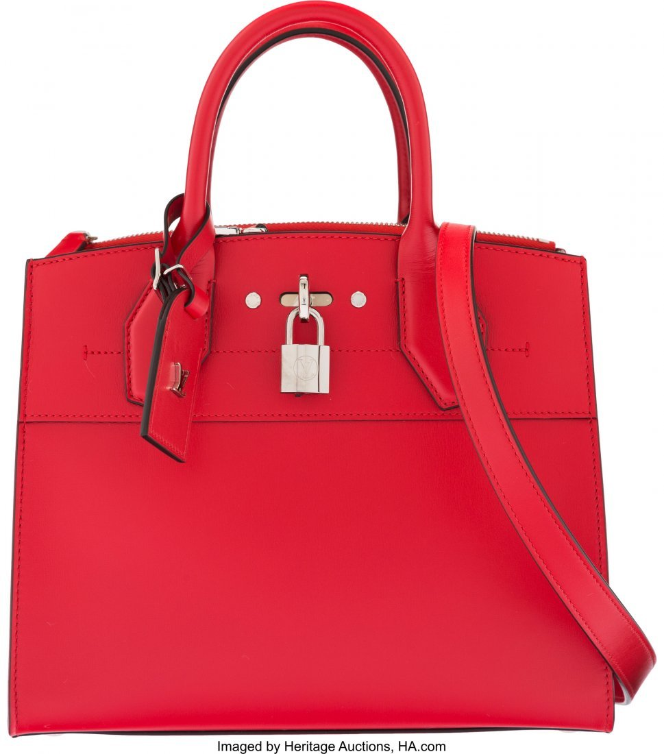 16017: Louis Vuitton Red Calfskin Leather City Steamer