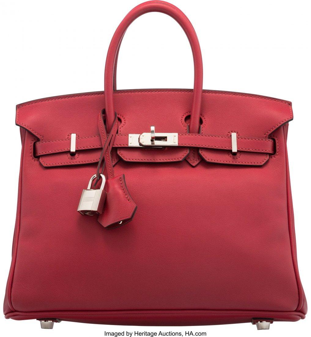 16019: Hermès 25cm Rouge Grenat Swift Leather Bi
