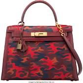 16025: Hermès Customized 28cm Red Camouflage Rou
