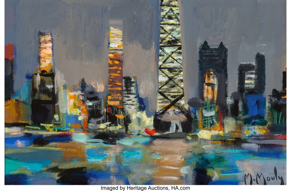57191: Marcel Mouly (French, 1918-2008) Chicago le Soir